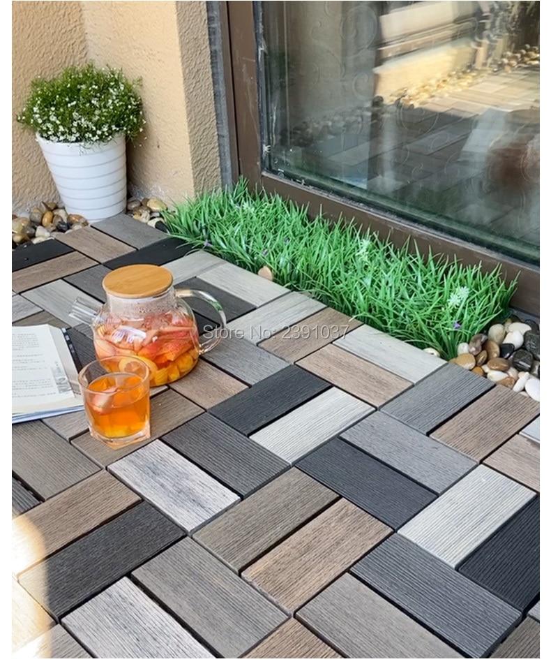 Modern Style Eco-friendly Wood & Composites Garden Decking Tiles Waterproof Antiseptic Floor Decking Balcony Outdoor Floor Board