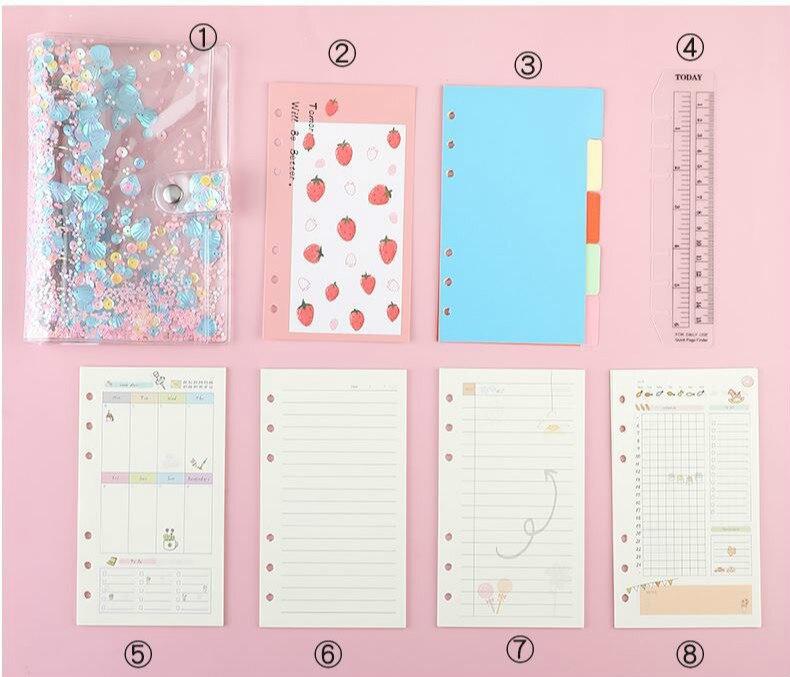 A6 Diary Notebook Cute Agenda Planner Organizer Korean Notepad Kawaii 6 Rings Note Book Spiral Handbook