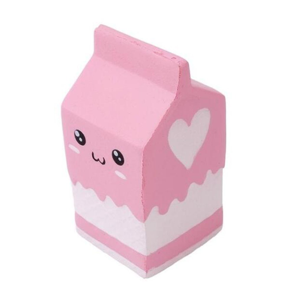 Kawaii Smile Squishy Milk Box Squeeze Fun Soft Slow Rising Stress Reliever Jumbo Squishes PU Cute Antistress Toys