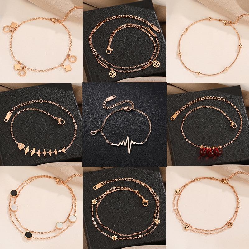 JIOROMY Summer Leg Bracelets For Women Foot Jewelry Butterfly Feet Chain Gifts Titanium Steel Flowers Coin Bells Anklet