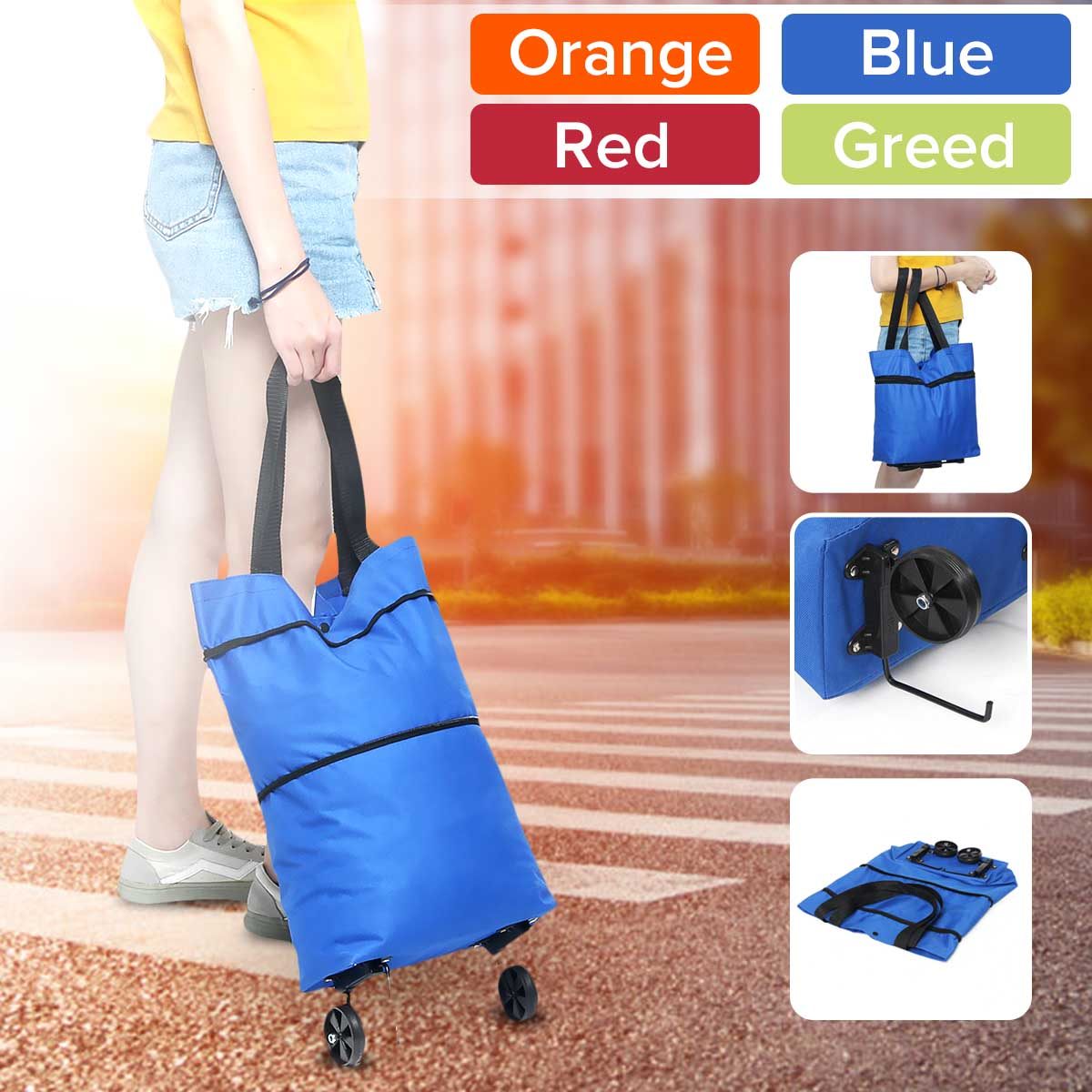 Women Foldable Shopping Cart Bag Portable Shopping Trolley Bag With Wheels Foldable Cart Rolling Grocery Colorful Supermarket