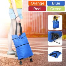 Women Foldable Shopping Cart Bag Portable Shopping Trolley Bag With Wheels Foldable Cart Rolling Grocery Colorful Supermarket(China)