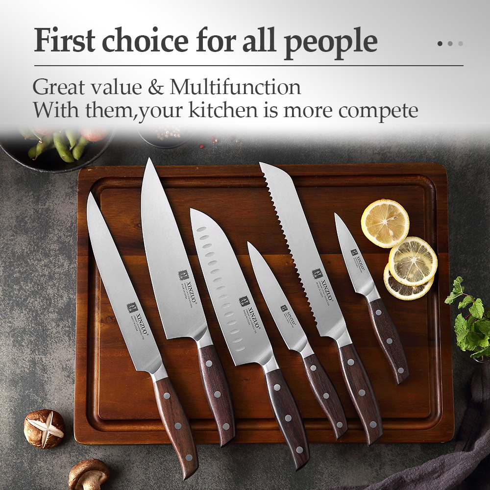 XINZUO Kitchen Tools 6 PCS Kitchen Knife Set of Utility Cleaver Chef Bread Knife High Carbon German Stainless Steel Knives sets 6