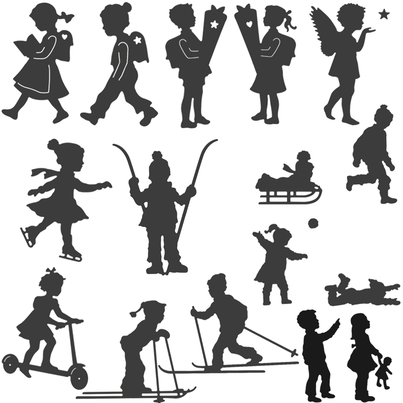 <font><b>2019</b></font> Boy Girl Metal <font><b>Cutting</b></font> <font><b>Dies</b></font> Skiing Children Stencil Scrapbooking Album <font><b>Stamp</b></font> Paper Card Embossing Crafts Decor image