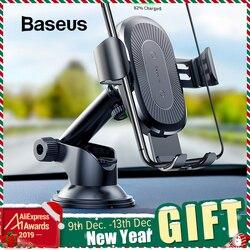Baseus 2 in1 qi carregador de carro sem fio para o iphone xs max samsung s8 rápido carregador de carregamento sem fio montagem do carro suporte do telefone móvel
