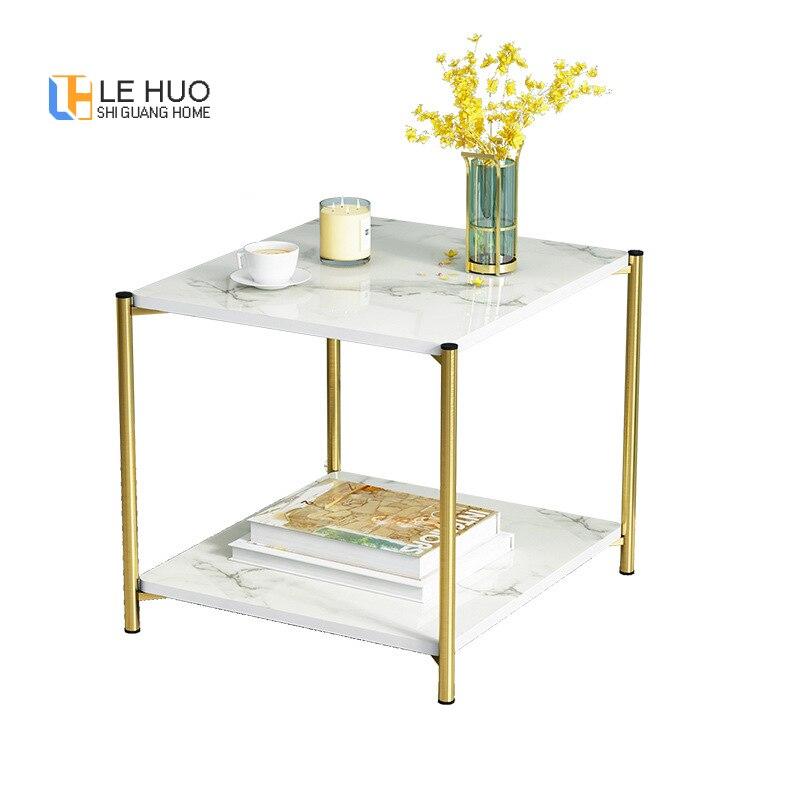Table basse en marbre Texture canapé Table d'appoint noir blanc Table à thé carrée ronde pour meubles de salon de luxe léger