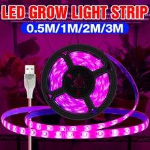 Выращивать Свет Полоса USB Полный Спектр Фито Лампа 5 В Светодиод Растение Свет Полоса 0,5 М 1 М 2 М 3 М Растение Лампа Теплица Гидропоника Освещение