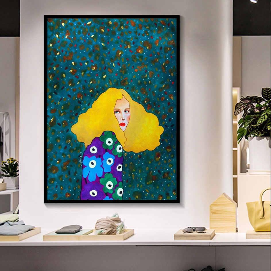 נורדי מודרני איור דמויות בצבעי מים צבעוני בד ציור פוסטר הדפסת דקור קיר אמנות תמונות לסלון חדר שינה