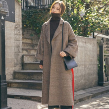 Plaid Wool Blends Coat Women Buttons Pocket Autumn Winter Female Tweed Casual Ladies Long Overcoats