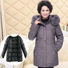 Women's Jackets for Elderly Women Hooded Detachable Liner Down Jacket Parka Plus Size Long Coat Female Sobretudo KJ484(China)