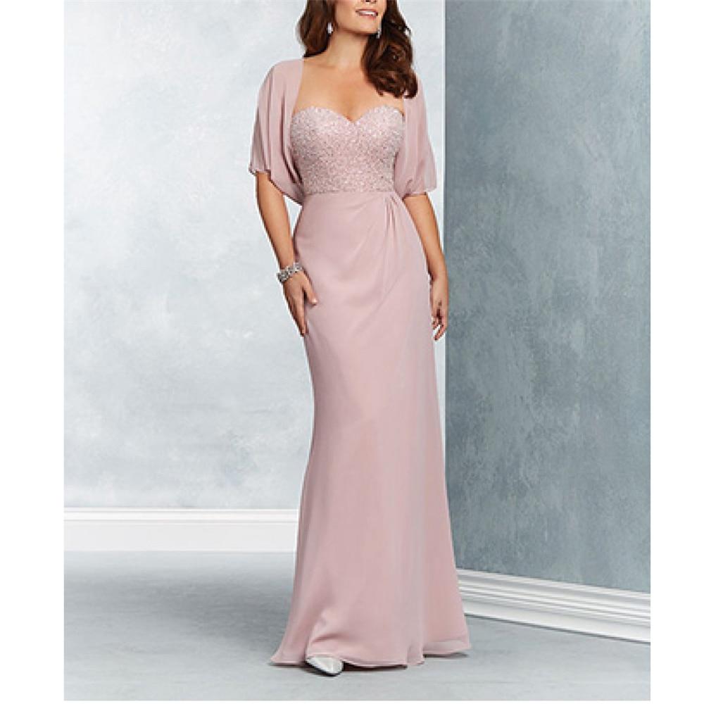 Dreamy Pink Chiffon Beading Vestido De Madrinha A-line Vintage Pleated Full-Length Vestidos De Novia 2019 Women's Dresses