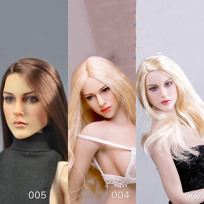 1//6th KIMI Toys Woman Head Carving Long Hair European Female Head Model