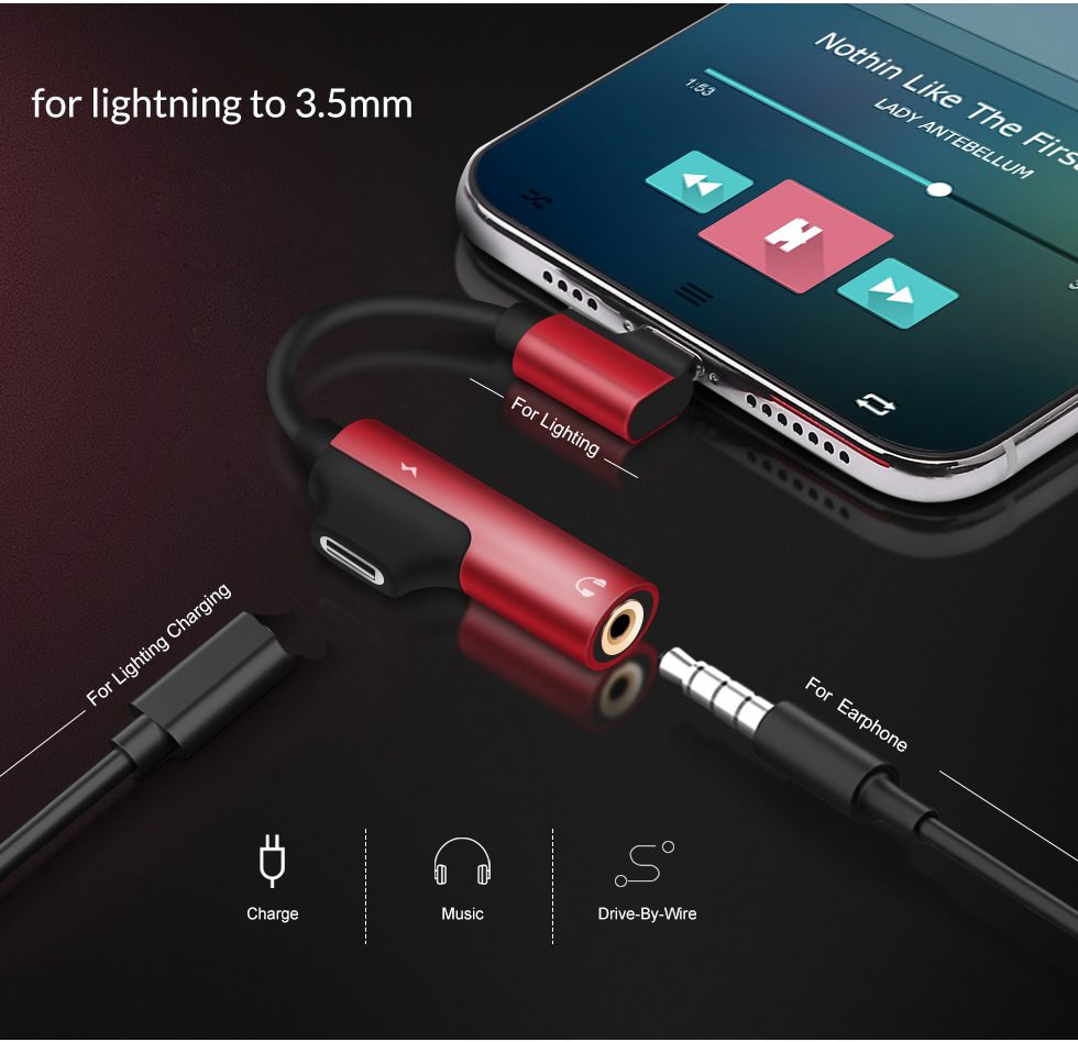 Aux Audio Charge Splitter Adapter For Lightning To 3.5mm Jack Earphone OTG Connector For IPhone 11 Pro Xs Max X 8 7 Plus