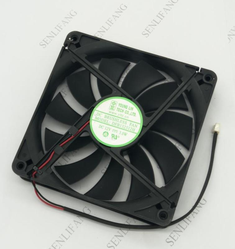 Free Shipping Wholesale: 13525 DFB132512H 12V 135*135*25mm 13.5CM 2 Line Chassis Cooling Fan