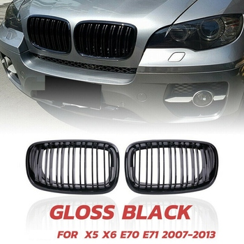 X5 X6 Grill, Front Kidney Double Line Grille for 2007-2013-BMW X5 E70 X6 E71 (ABS Gloss Black Grill, 2-Pc Set) image
