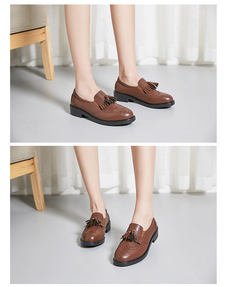 New British Carved Oxford Shoes For Woman Korean College Slip On Student Flats Brogues Shoes Retro Tassel Casual Women's Loafers (16)