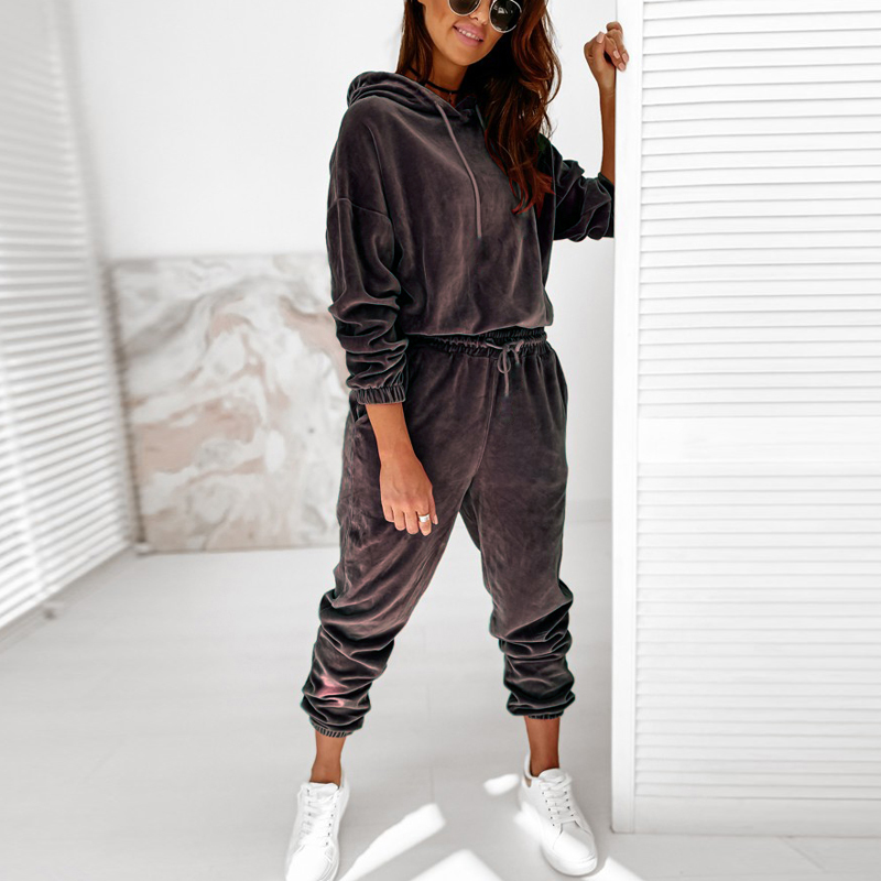 Hoodies Anzug Frauen Winter Feste Beiläufige Trainingsanzug Damen Samt 2 Stück Set Sweatshirts Mode Sportwear Pullover Outfit