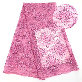 Pink african lace fabric 2020 high quality sequins lace fabric french mesh tulle fabric nigerian swiss voile lace fabric KCD9404