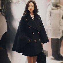 Для женщин; плащ; накидка; черный шерстяное пальто осенне-зимний модный шерстяной твид с рукавами «летучая мышь» пончо с рукавами свободные толстое шерстяное пальто, верхняя одежда