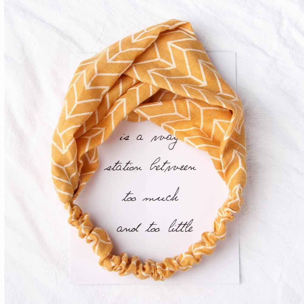พิมพ์Headbandsสำหรับผู้หญิงฤดูร้อนฤดูใบไม้ร่วงสไตล์Bohemian Hairbands Retro Cross Knot Turbanผ้าพันคอผ้าพันคอผู้หญิงอุปกรณ์เสริมผม