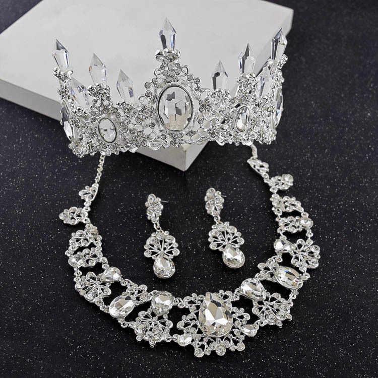 Barok Kristal Water Drop Bridal Jewelry Sets Strass Tiara Kroon Ketting Oorbellen voor Bruid Bruiloft Dubai Sieraden Set