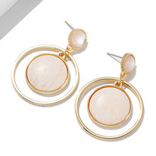 Korean Style Fashion Jewelry Round Geometric Circle Earrings Simple Design Trendy Accessories Temperament Crystal Drop Earrings(China)