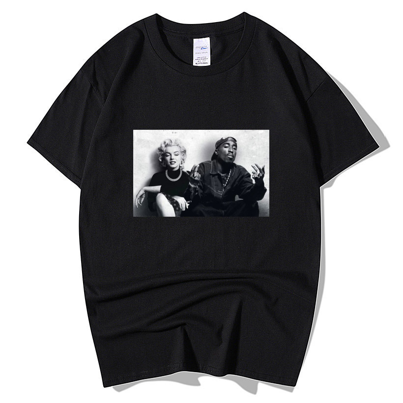 2020 Summer Fashion Design Legends Tupac 2Pac Marilyn Monroe T Shirt Men Casual Hip Hop Short Sleeve Round Neck Cotton T-Shirt