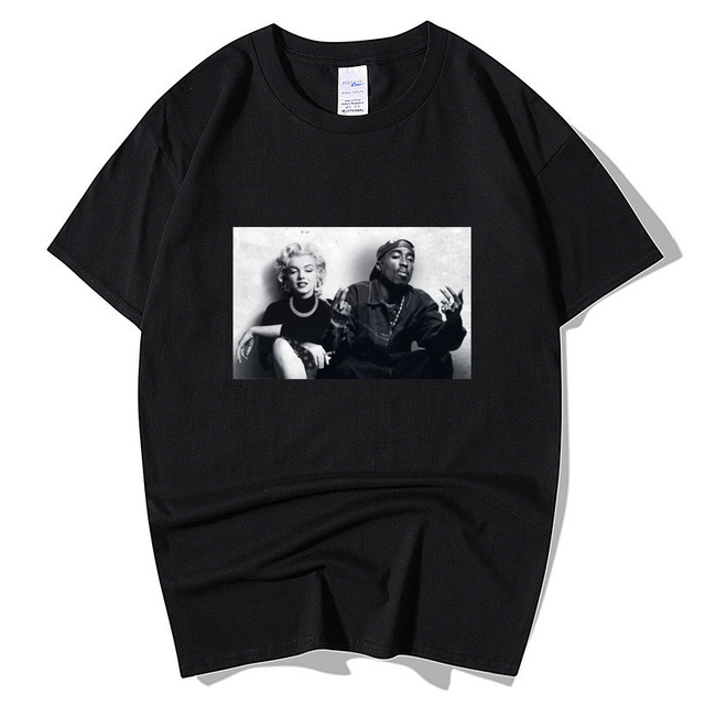 2020 Summer Fashion Design Legends Tupac 2Pac Marilyn Monroe T Shirt Men Casual Hip Hop Short Sleeve Round Neck Cotton T-Shirt