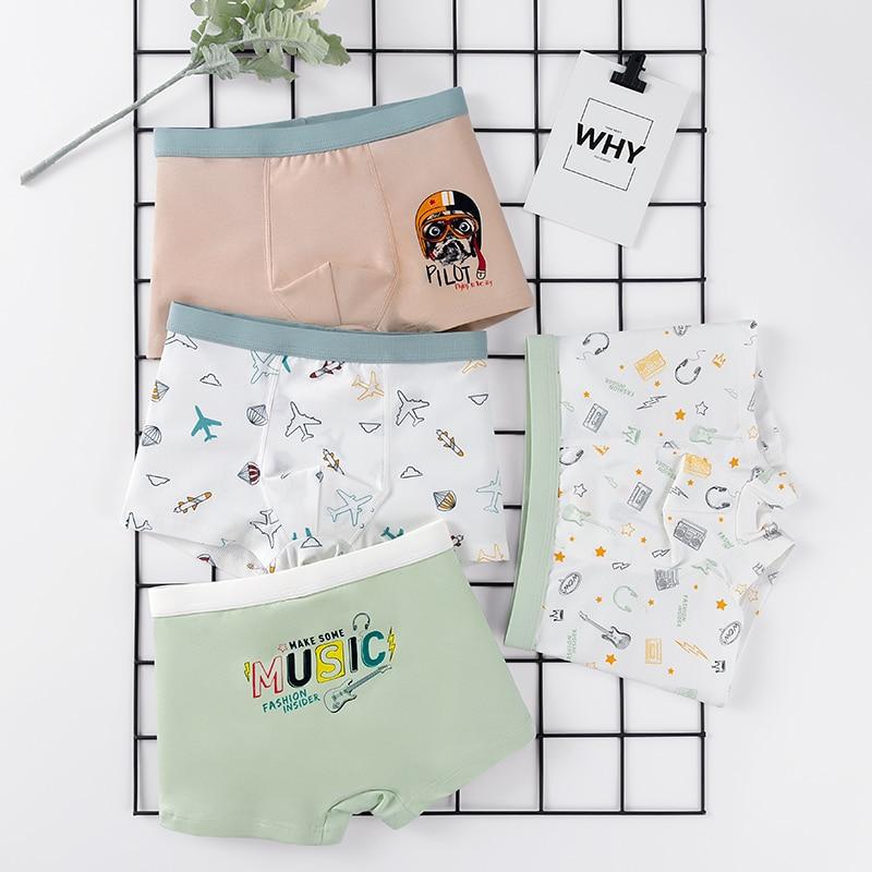 4 Pcs High Quality Children's Underwear for Kids Cartoon Cat Shorts Soft Cotton Underpants Boys Teenage Striped Panties 4-16T 5