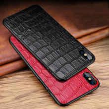 Echt Leer Case Voor Iphone X Xs Max Xr Achterkant Case Leer + Pc Krokodil Patroon Anti Vallen Protector MYL 9KS Coque Gevallen