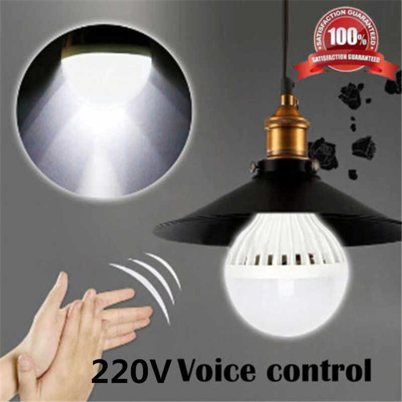 LED Lamp E27 3W 5W 7W 9W 12W Smart Sound Voice+Light Sensor Control LED Light Bulbs 220V 5730 SMD Night Lamps for Porch Hallway