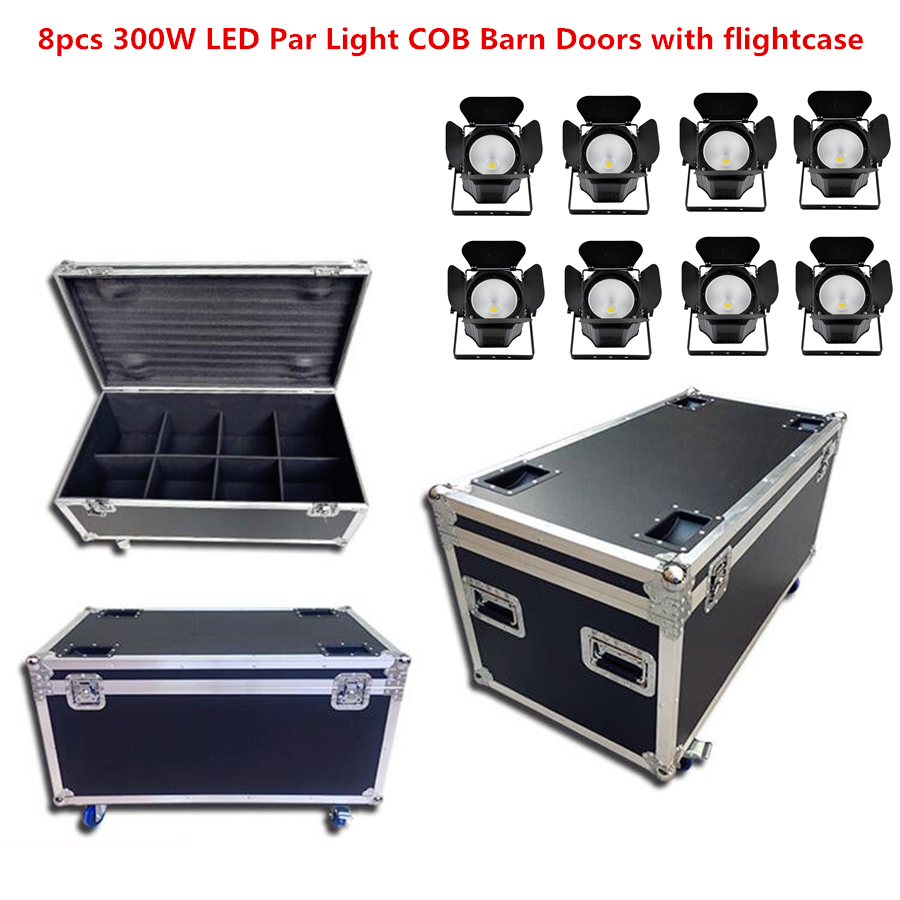 8X 300W LED Par Light COB Barn Doors With Flightcase Led  Dj Strobe Effect Stage Lighting,Cold White + Warm White RGBWA+UV