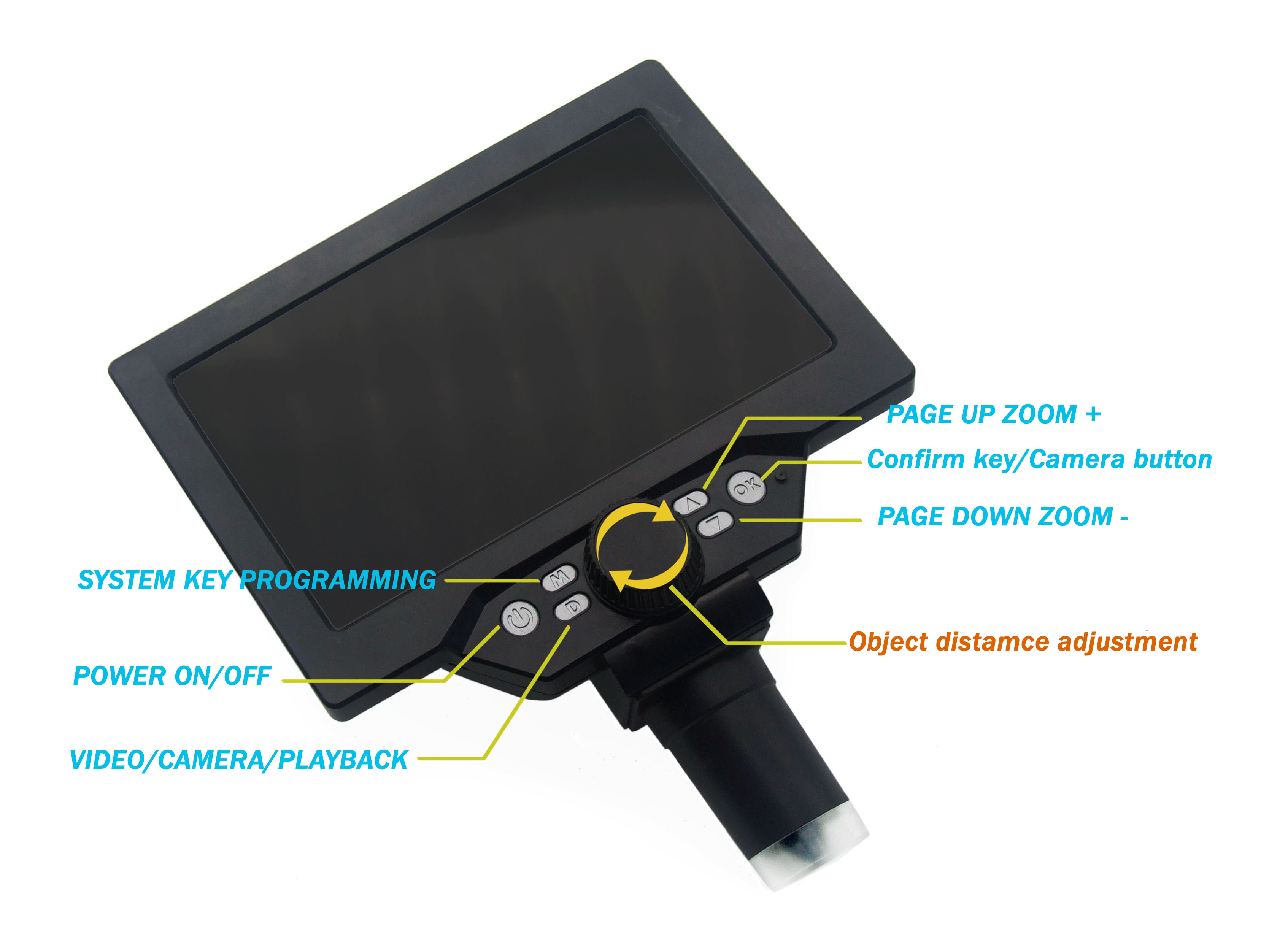 7' HD 12MP 1 1200X LCD Digital Microscope Electronic Video Microscopes Pcb BGA SMT Soldering Phone Repair Magnifier Alloy Stand - 2