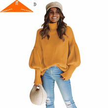 Pull Winter Turtleneck Femme Women Clothes 2020 Korean Fashion Knitted Loose Casual Sweater Red Black Blusa D6062(China)