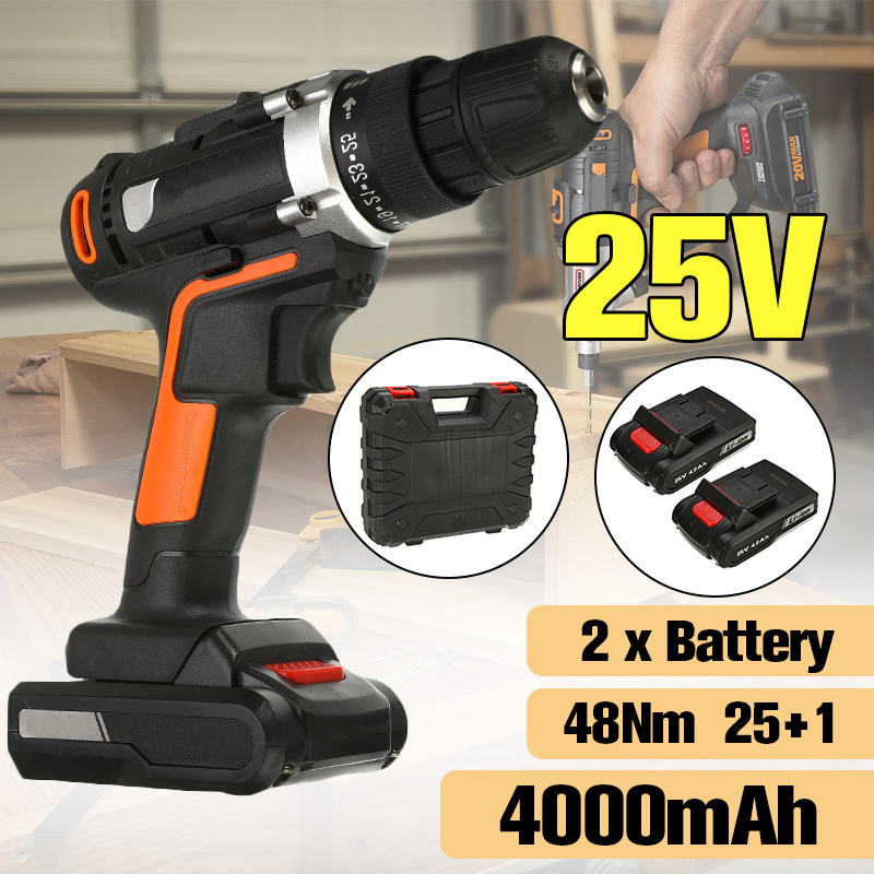 High Power Electric Screwdriver Cordless Impact Drills Driver DC Motor 2x4.0Ah Lithium Battery Household 25V Electric Drill