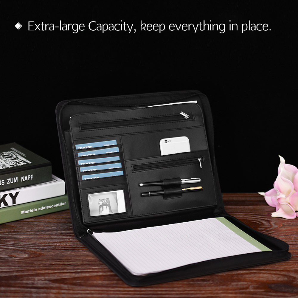 Zippered Multifunctional A4 Portfolio Professional Padfolio File Organizer with Writing Pad Card Pocket for Businessmen Manager(China)