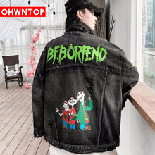 Men Funny Cartoon Letter Print Denim Jacket Coat Patchwork Hip Hop Jeans Coat Advanced Casual Fashion Lover Streetwear Men Tops