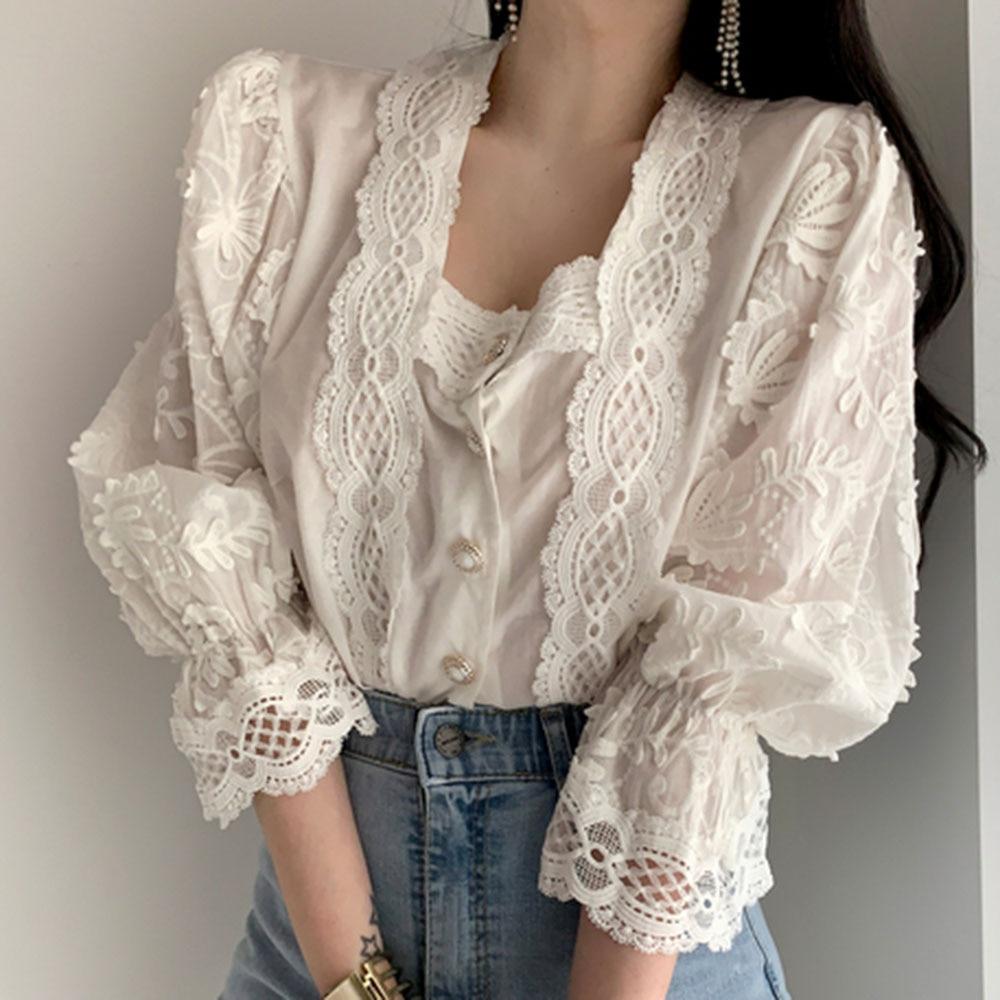 Korena Sweet Puff Sleeve Blouse 2020 Designer Fashion Spring Autumn Elegant Lace Patchwork Women Shirts Female Tops Work Wear