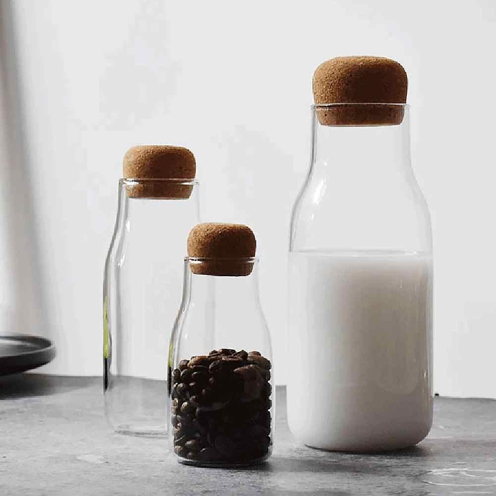 150/300/700 Ml Botol Penyimpanan Bumbu Gula Teh Kopi Cork Stopper Kaca Dapat