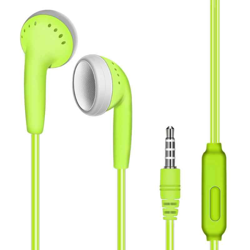 W ucha płaskim słuchawki zatyczki do uszu sportowe słuchawka do muzyki Subwoofe z pszenicy przewodowy In-line głos odporny na pot redukcji szumów