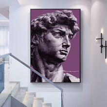 Modern Art Home Decor Purple David Portrait Statue Wall Art Painting On Canvas Posters And Prints Picture For Living Room buddha statue canvas painting religious wall art picture for living room bedroom decoration posters and prints modern home decor