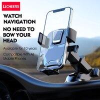 LICHEERS-Soporte de teléfono móvil para coche, montaje con ventosa para iPhone 12, Xiaomi, Samsung y Huawei