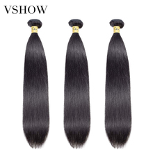 3 Bundles Peruvian Straight Hair Extensions Human Double Weft Remy Weave 10-26Natural Color VSHOW