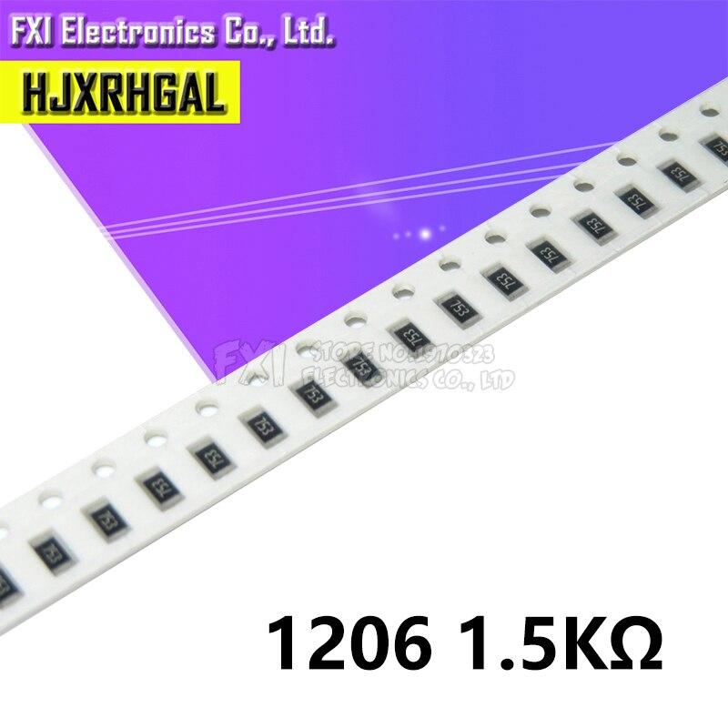100PCS 1206 SMD Resistor  1.5K 1K5 Ohm Chip Resistor 0.25W 1/4W 152 New Original