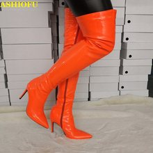 ASHIOFU Handmade Real Photos Womens Thigh High Boots Sexy Party Prom Over Knee Boots Club Evening Winter Fashion Long Boots(China)