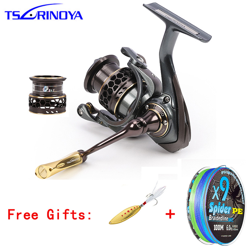TSURINOYA Jaguar 1000-5000 9+1BB Fishing Reel 2 Spools Carp Fishing 5.2:1 Squid Saltwater Metal Handle Reels Coil Spinning Reel