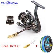 TSURINOYA Jaguar 1000-5000 9+1BB Fishing Reel 2 Spools Carp 5.2:1 Squid Saltwater Metal Handle Reels Coil Spinning