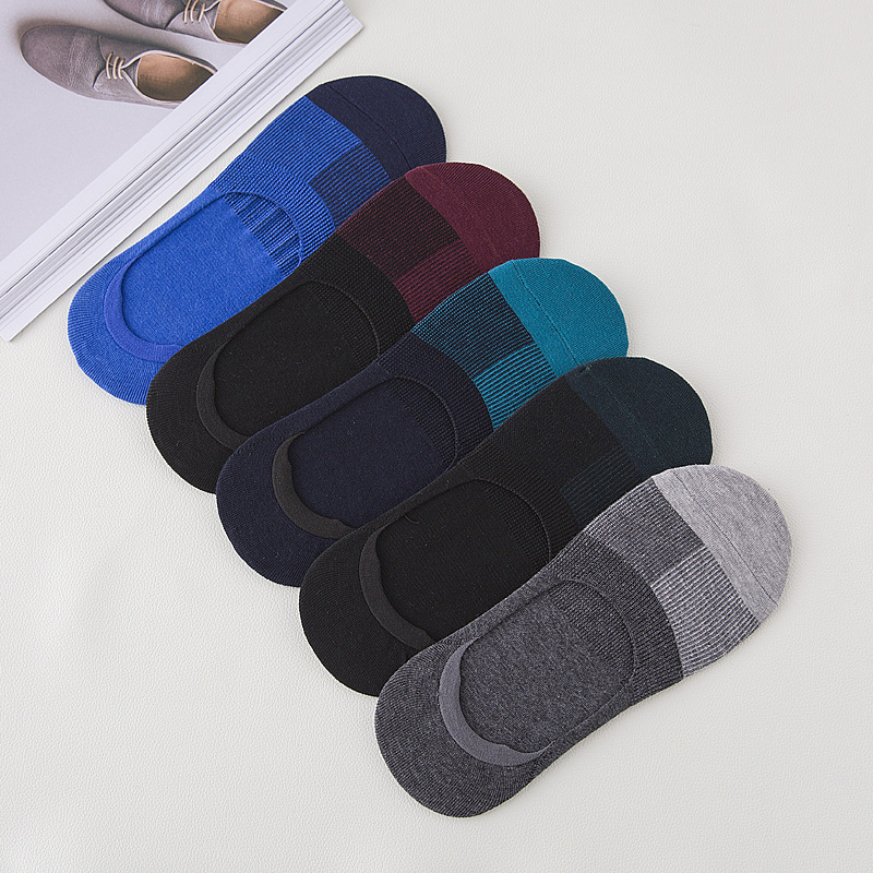 PEONFLY  New Cotton Men Invisible Socks Men Sock Slippers Silicone Soft Breathable Sweat Absorpt Anti-skid Solid Summer Socks
