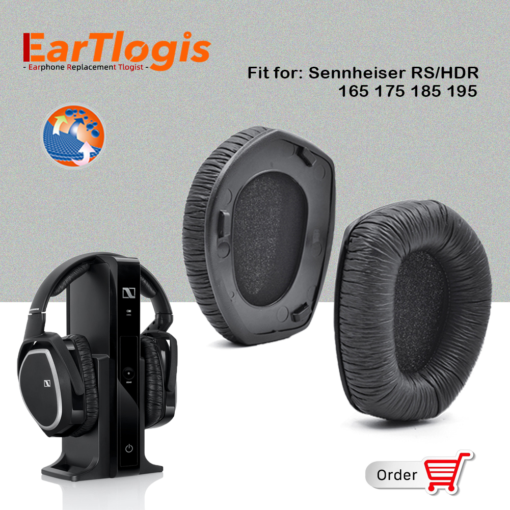 EarTlogis Replacement Ear Pads for Sennheiser RS165 RS175 RS185 RS195 HDR165 HDR175 HDR185 HDR195 Earmuff Cover Cushion Cups