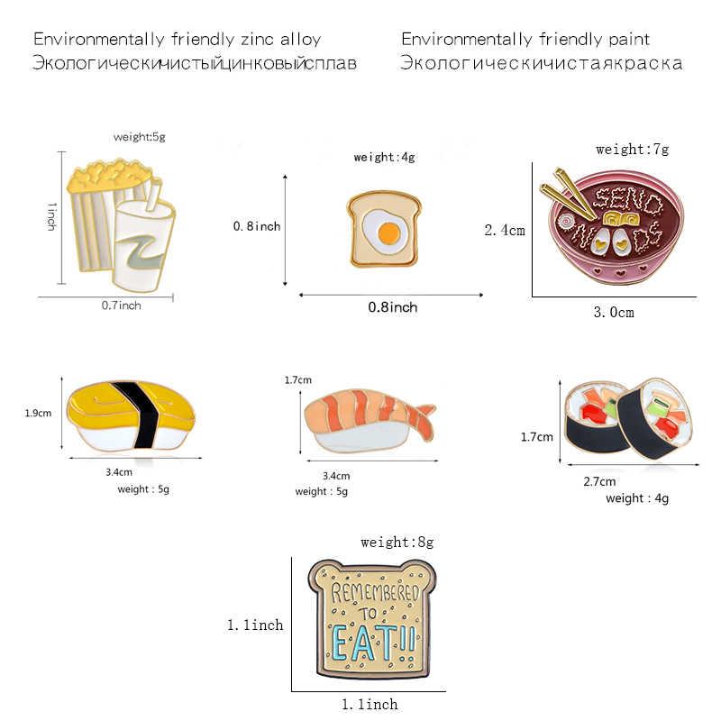 Hoạt Hình Chân Sushi Nhật Bản Mì Bánh Mì Nướng Bánh Mì Bắp Rang Và Cola Thổ Cẩm Chân Sỉ Men Phù Hiệu Ve Áo Pin Dành Cho Trẻ Em